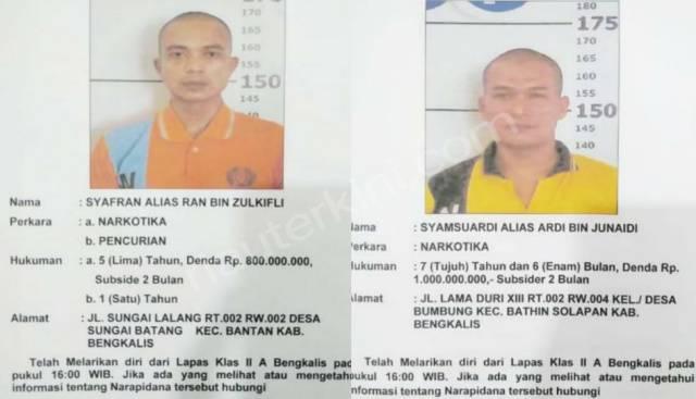 Dua Napi Narkotika Lapas Bengkalis Kabur