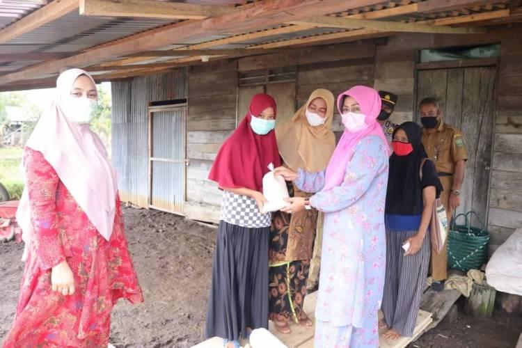 Peduli Banjir di Sungai Mandau, PKK Kabupaten Siak Serahkan Bantuan