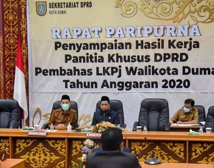 Legislatif Sampaikan Hasil Kerja Pansus Soal LKPJ Walikota Dumai Tahun 2020