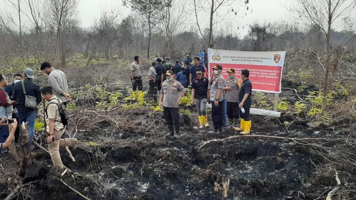 Tim Mabes Polri Lakukan Penyelidikan Kebakaran Lahan di Siak