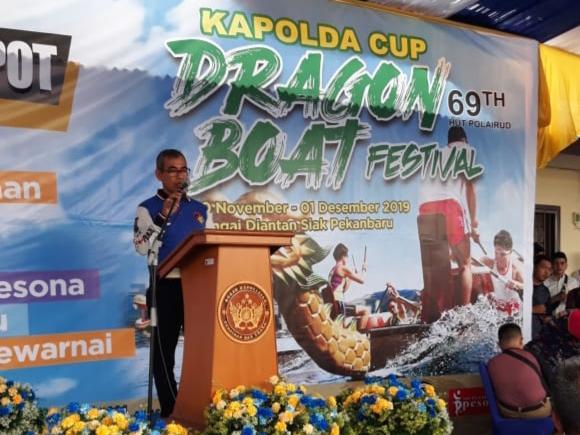 36 Tim Dragon Boat Bertarung Rebut Piala Kapolda Riau